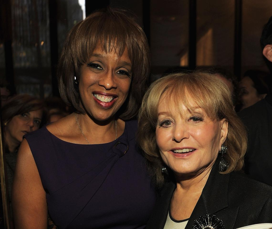 "NEW YORK, NY - APRIL 11:  Gayle King (L) and Barbara Walters attend the Hollywood Reporter celebration of ""The 35 Most Powerful People in Media"" at the Four Season Grill Room on April 11, 2012 in New York City.  (Photo by Larry Busacca/Getty Images)"