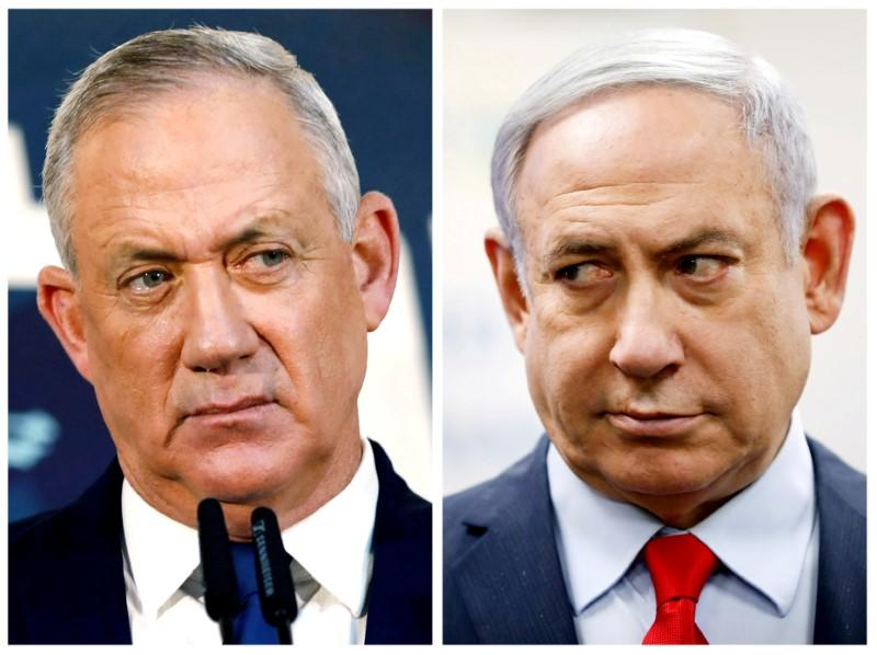 FILE PHOTO: A combination picture shows Gantz, leader of Blue and White party in Tel Aviv and Israeli Prime Minister Netanyahu in Kiryat Malachi