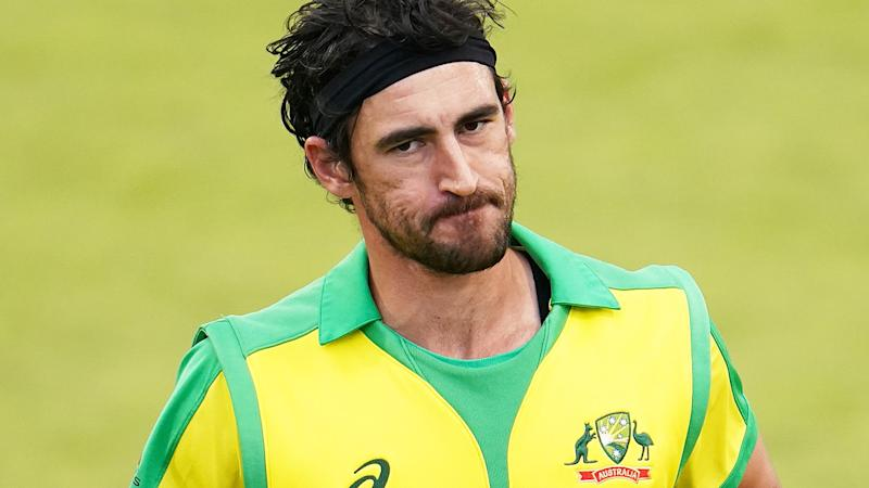 The likes of Mitch Starc will be sweating on the latest turn in the ugly contract dispute between Channel 7, Foxtel and Cricket Australia. (Photo by JON SUPER/POOL/AFP via Getty Images)