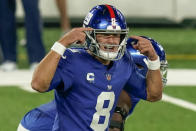 New York Giants quarterback Daniel Jones (8) calls an audible against the Pittsburgh Steelers during the second quarter of an NFL football game Monday, Sept. 14, 2020, in East Rutherford, N.J. (AP Photo/Seth Wenig)