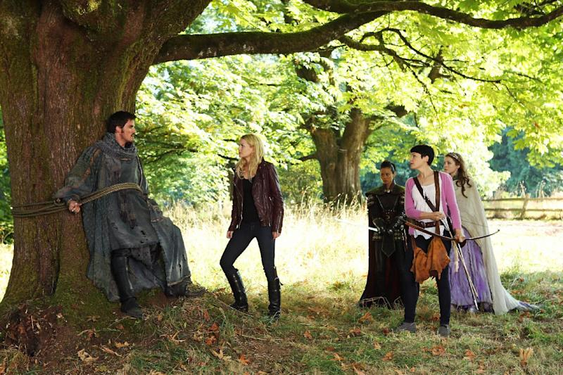 "This publicity photo released by ABC shows, from left, Colin O'Donoghue as Captain Hook, Jennifer Morrison as Emma Swan, Jamie Chung as Mulan, Ginnifer Goodwin as Mary Margaret Blanchard and Sarah Bolger as Princess Aurora , in a scene from ""The Doctor"" episode of ""Once Upon a Time,"" on the ABC Television Network. (AP Photo/ABC, Jack Rowand)"