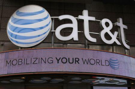Signage for an AT&T store is seen in New York