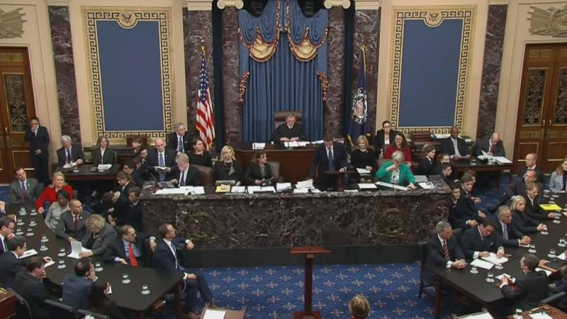 A still image handout from the United States Senate shows Chief Justice John Roberts reporting the results of the roll call vote in the impeachment trial against US President Trump in the Senate at the US Capitol in Washington, DC, USA, 05 February 2020. EFE/EPA/US SENATE TV