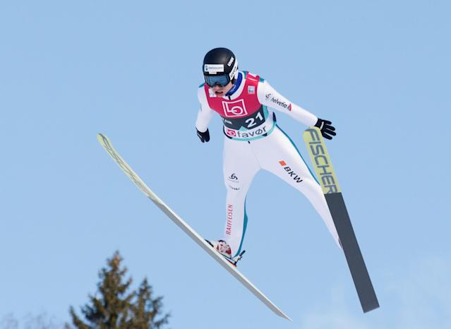 Ski Jumping - FIS World Cup - Men's HS240 Qualification - Vikersund, Norway - March 16, 2018 Andreas Schuler of Switzerland in action. Terje Bendiksby/NTB Scanpix/via REUTERS ATTENTION EDITORS - THIS IMAGE WAS PROVIDED BY A THIRD PARTY. NORWAY OUT.
