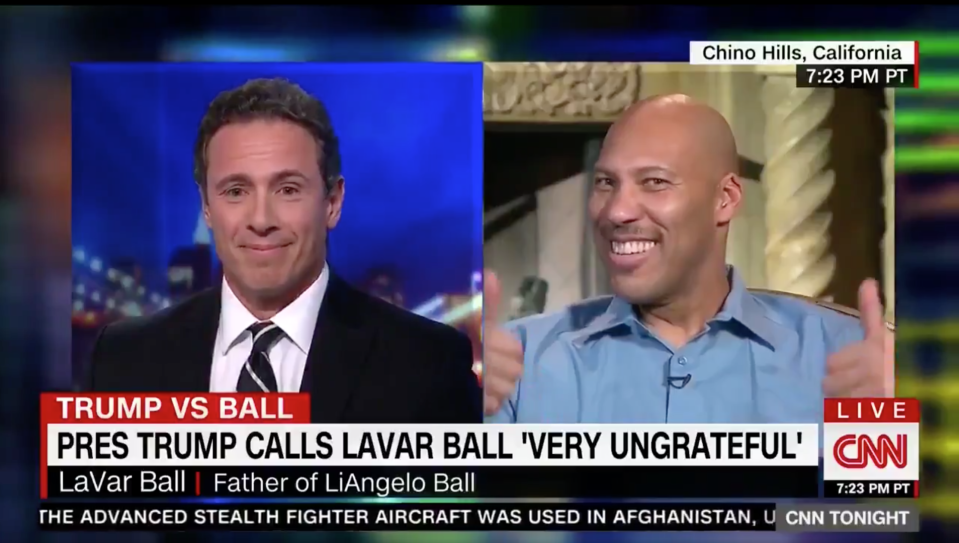 LaVar Ball made it to CNN. And he proceeded to derail host Chris Cuomo. (Screengrab)
