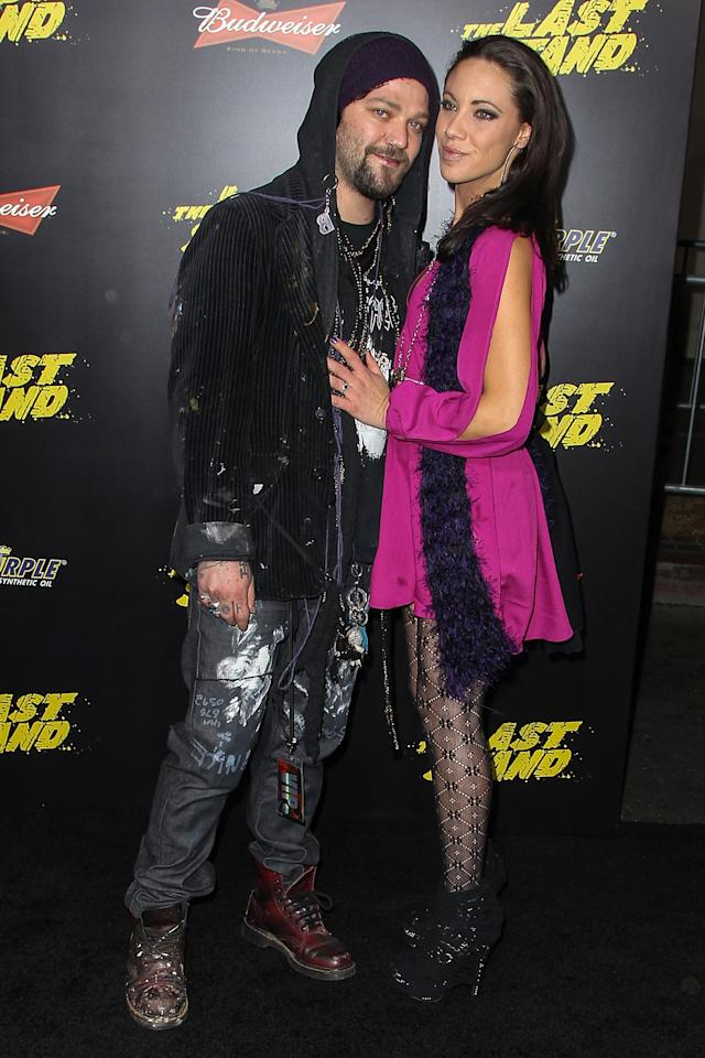 "HOLLYWOOD, CA - JANUARY 14:  Television personality Bam Margera and Missy Rothstein Margera arrive at the premiere of Lionsgate Films' ""The Last Stand"" held at Grauman's Chinese Theatre on January 14, 2013 in Hollywood, California.  (Photo by Paul A. Hebert/Getty Images)"