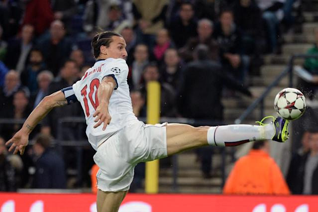 PSG player Zlatan Ibrahimovic controls the ball during their Group C Champions League soccer match against RSC Anderlecht in Brussels on Wednesday, Oct. 23, 2013. (AP Photo/Geert Vanden Wijngaert)