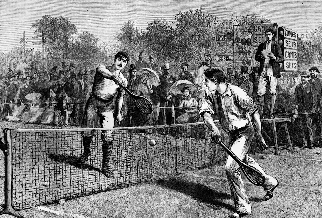 <p>The AEC soon became the All England Croquet and Lawn Tennis Club as the sport surged in popularity. The year 1877 marked the beginning of the modern Wimbledon event. </p><p>Here, an 1881 illustration of British tennis players William Renshaw and H. F. Lawford competing in the men's singles competition, which Renshaw won. </p>