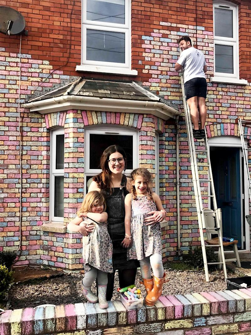 Mum Fern and the girls started the project but her partner Mario finished it off. (SWNS)