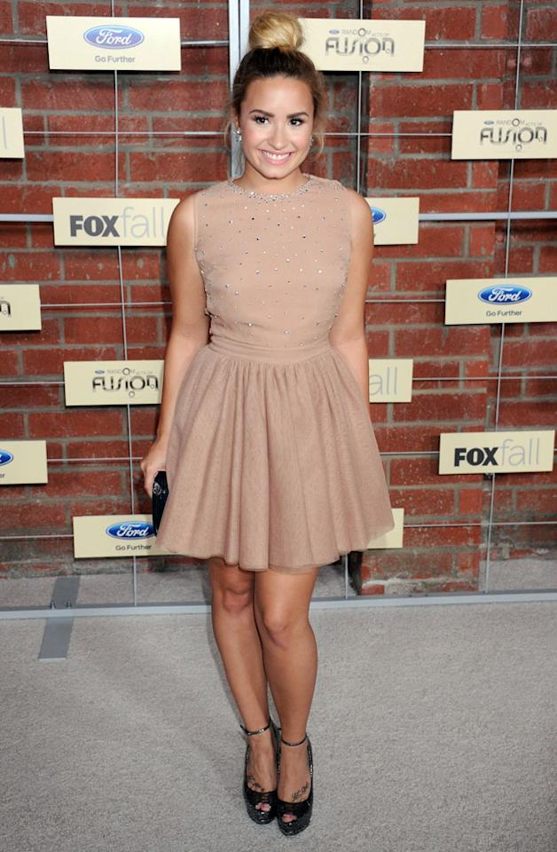 """Demi Lovato (""""The X Factor"""") attends Fox's Fall 2012 Eco-Casino party at The Bookbindery on September 10, 2012 in Culver City, California."""