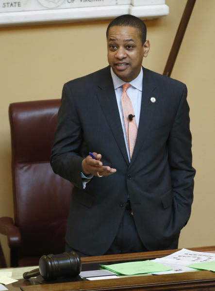 Virginia Lt. Gov. Justin Fairfax presides over a Senate session at the Capitol in Richmond, Va., Friday, Feb. 22, 2019. The chairman of the House Courts of Justice committee announced that they will hold a hearing on the sexual accusations that have been placed against Fairfax. (AP Photo/Steve Helber)