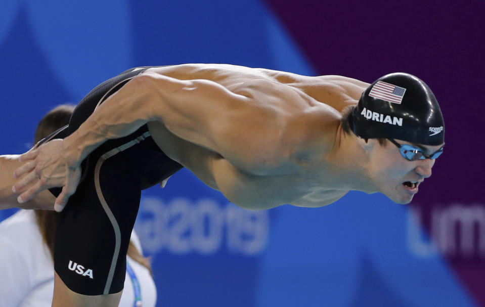 FILE - In this Friday, Aug. 9, 2019 file photo, Nathan Adrian of United States competes in men's swimming 50m freestyle at the Pan American Games in Lima, Peru. Adrian is competing in the Olympic trials in Omaha, Neb., Sunday, June 13, 2021 (AP Photo/Fernando Llano, File)