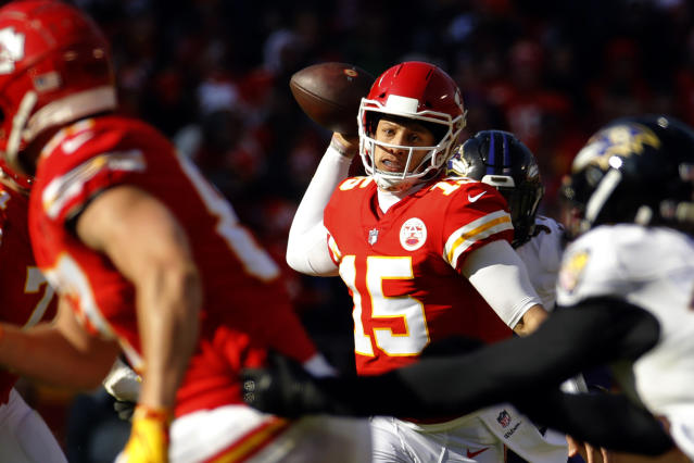 Kansas City Chiefs quarterback Patrick Mahomes made some big plays to pull out an overtime win. (AP)