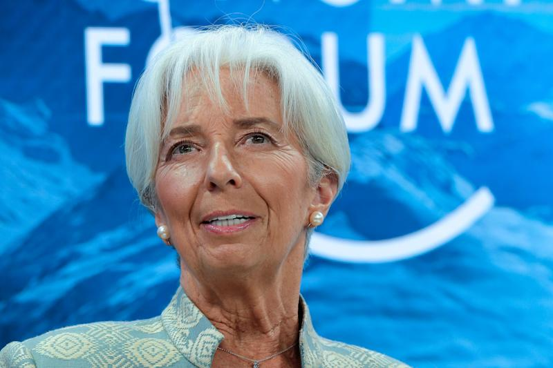 International Monetary Fund Managing Director Christine Lagarde, attends a session of the annual meeting of the World Economic Forum in Davos, Switzerland, Thursday, Jan. 24, 2019. (AP Photo/Markus Schreiber)