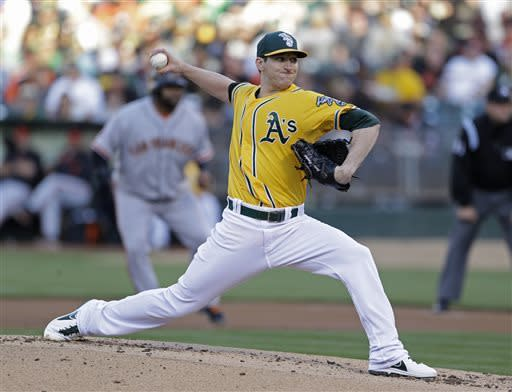 Oakland Athletics starting pitcher Jarrod Parker throws to the San Francisco Giants during the first inning of a baseball game Tuesday, May 28, 2013, in Oakland Calif. (AP Photo/Eric Risberg)