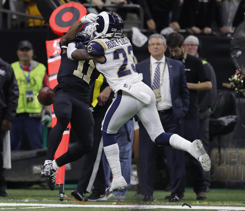 Los Angeles Rams defensive back Nickell Robey-Coleman (23) wasn't called for pass interference on a key play in the NFC championship game. (AP)
