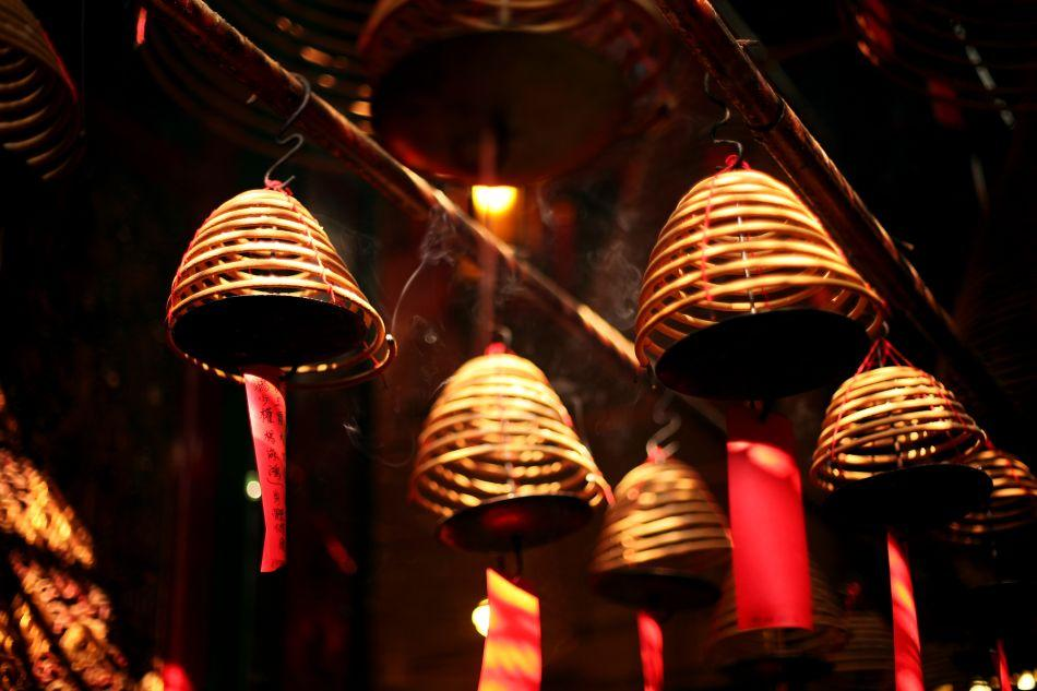 Incense is seen burning inside the Man Mo Temple.