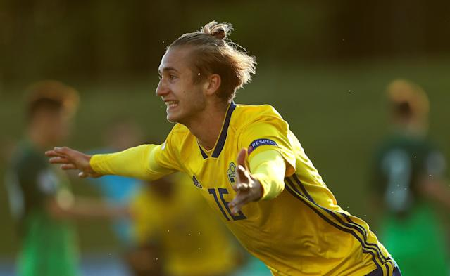 Soccer Football - UEFA European Under-17 Championship - Group B - Slovenia v Sweden - St George's Park, Burton Upon Trent, Britain - May 4, 2018 Sweden's Benjamin Nygren celebrates scoring their second goal Action Images via Reuters/Lee Smith