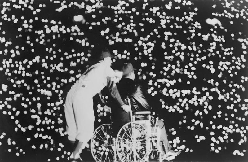 A sea of lights in a blacked out Coliseum during a tribute to Dodgers legend Roy Campanella on May 7, 1959.