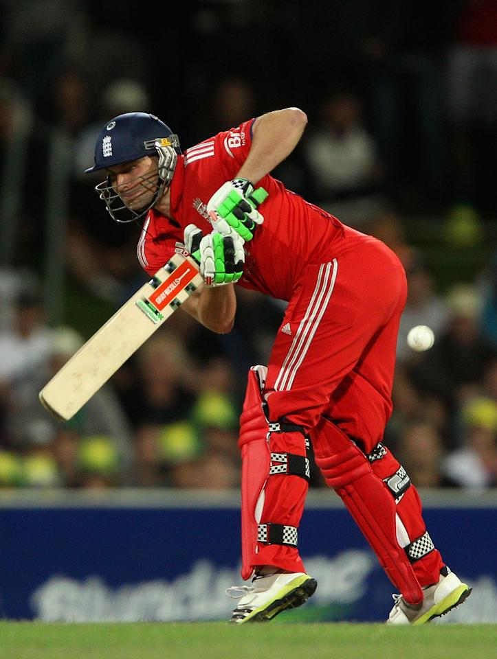 HOBART, AUSTRALIA - JANUARY 29:  Luke Wright of England plays a shot during game one of the International Twenty20 series between Australia and England at Blundstone Arena on January 29, 2014 in Hobart, Australia.  (Photo by Robert Prezioso/Getty Images)