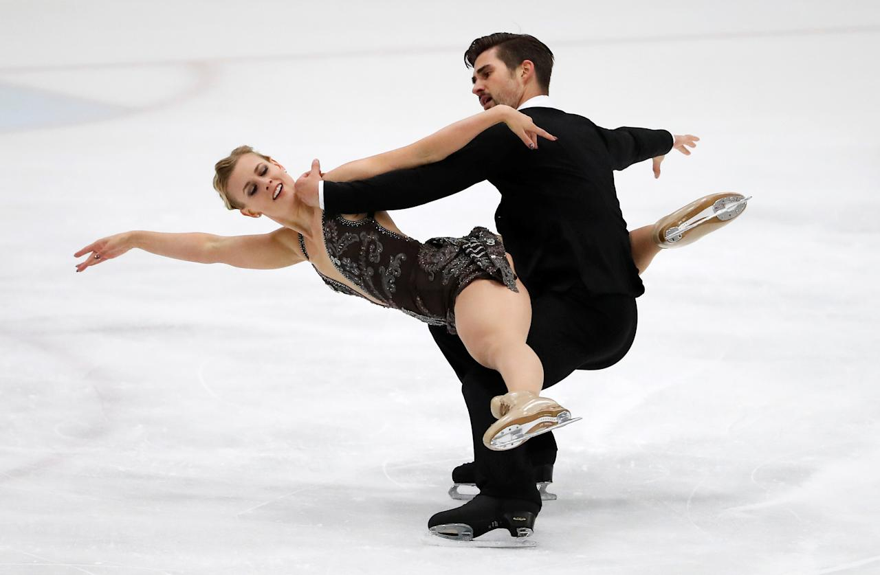 Sep 16, 2017; Salt Lake City, UT, USA; Madison Hubbell and Zachary Donohue (USA) compete in their free dance program during the U.S. International Figure Skating Classic at SLC Sports Complex. Mandatory Credit: Jeff Swinger-USA TODAY Sports     TPX IMAGES OF THE DAY