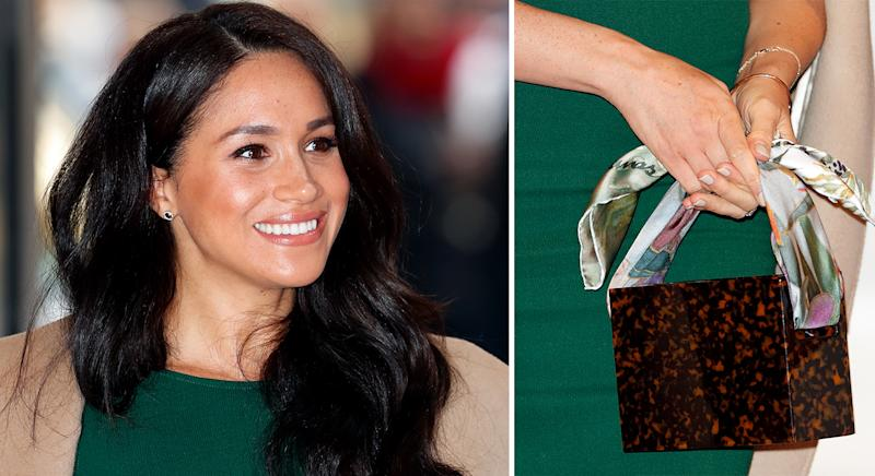 Meghan Markle at the WellChild Awards in London on 15 October 2019, carrying a bag by It label Montunas [Photos: Getty]