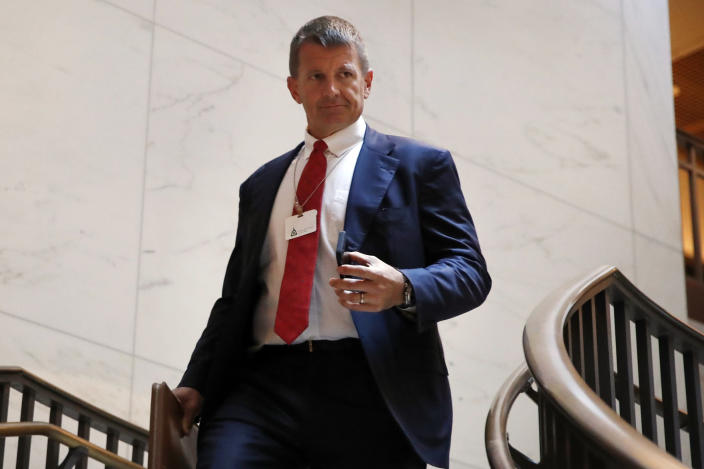Blackwater founder Erik Prince arrives for a closed meeting with members of the House Intelligence Committee on Capitol Hill in 2017. (Photo: Jacquelyn Martin/AP)