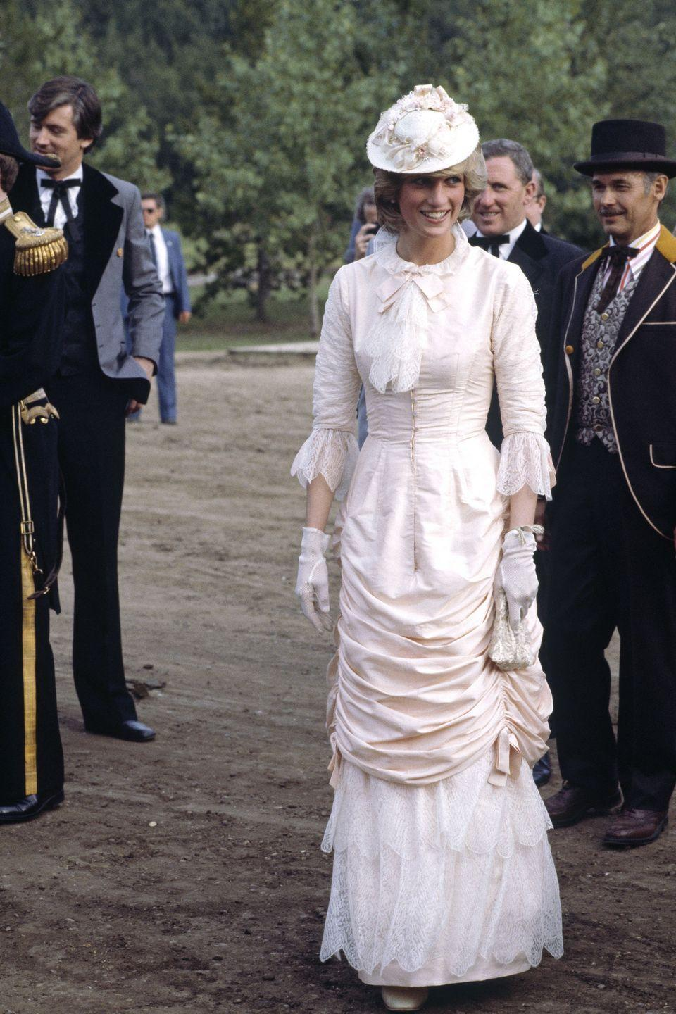 <p>Princess Diana dressed in a traditional blush pink Klondike outfit while on an official visit to Canada.</p>