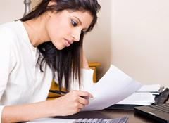 Woman doing her taxes