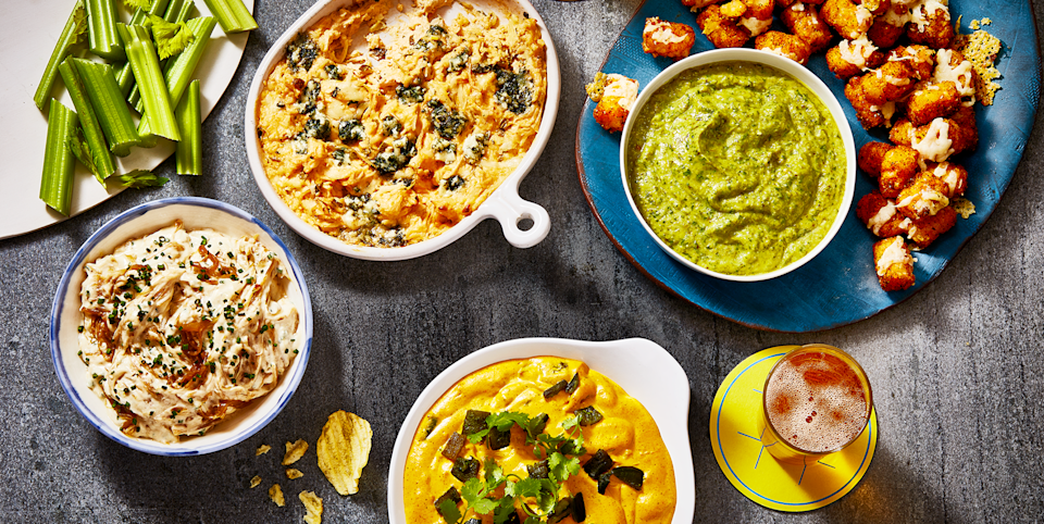 """<p>Try as you might, there's no way to guarantee a Super Bowl win for your favorite football team. You can, however, control what kind of grub you serve at <a href=""""https://www.goodhousekeeping.com/life/g4949/super-bowl-party-ideas/"""" rel=""""nofollow noopener"""" target=""""_blank"""" data-ylk=""""slk:your game-day party"""" class=""""link rapid-noclick-resp"""">your game-day party</a>. Take a look at these standout Super Bowl recipes to build your ultimate party spread, no matter if you're a diehard sports fan looking for fuel on the big night or simply excited about the prospect of making a meal of chicken wings, cheesy dips, and finger foods. Tailor your menu to the size of your crowd: There are recipes perfect for solo celebrations, parties of two, or entire households. <br></p><p>All of <a href=""""https://www.goodhousekeeping.com/food-recipes/party-ideas/g477/football-superbowl-snacks/"""" rel=""""nofollow noopener"""" target=""""_blank"""" data-ylk=""""slk:these snack ideas"""" class=""""link rapid-noclick-resp"""">these snack ideas</a> — we've included a handful of <a href=""""https://www.goodhousekeeping.com/food-recipes/g25778949/vegan-super-bowl-recipes/"""" rel=""""nofollow noopener"""" target=""""_blank"""" data-ylk=""""slk:vegan"""" class=""""link rapid-noclick-resp"""">vegan</a>, <a href=""""https://www.goodhousekeeping.com/food-recipes/g25727072/vegetarian-super-bowl-recipes/"""" rel=""""nofollow noopener"""" target=""""_blank"""" data-ylk=""""slk:vegetarian"""" class=""""link rapid-noclick-resp"""">vegetarian</a>, and <a href=""""https://www.goodhousekeeping.com/food-recipes/healthy/g5076/healthy-super-bowl-recipes/"""" rel=""""nofollow noopener"""" target=""""_blank"""" data-ylk=""""slk:healthy options"""" class=""""link rapid-noclick-resp"""">healthy options</a>, too — are touchdown-worthy, especially when loaded up with sauces, marinades, and ooey-gooey goodness. That means, everyone will be happy (and well-fed) from kickoff to MVP pick, even if their favorite team doesn't take home the Super Bowl win. But since most of these eats are hearty and savory, round out your party spread with s"""