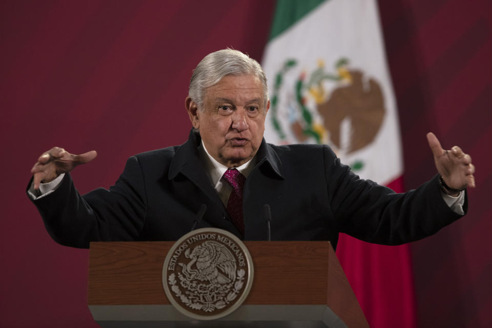 FILE - In this Dec. 18, 2020 file photo, Mexican President Andres Manuel Lopez Obrador gives his daily, morning news conference at the presidential palace, Palacio Nacional, in Mexico City. Lopez Obrador vowed Thursday, Jan. 14, 2021 to lead an international effort to combat what he considers censorship by social media companies that have blocked or suspended the accounts of U.S. President Donald Trump. (AP Photo/Marco Ugarte, File)