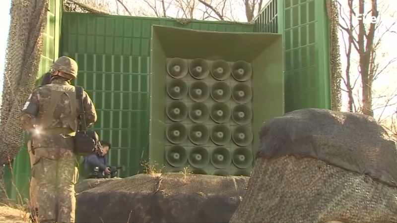 South Korea has reportedly been broadcasting updates on the condition of a defecting North Korean soldier through loudspeakers so its northern rival can hear. (Reuters)