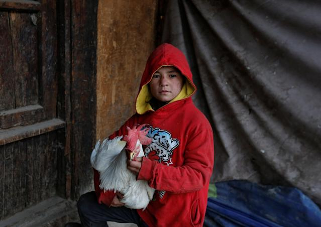 <p>Farhad, 13, holds a rooster as he poses for a picture at Ka Faroshi bird market in Kabul, Afghanistan, Jan. 18, 2018. (Photo: Mohammad Ismail/Reuters) </p>