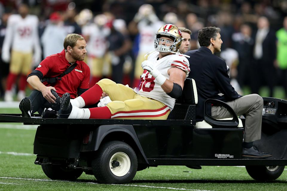 Weston Richburg is one of several key 49ers injured as the playoffs loom. (Chuck Cook/Reuters)