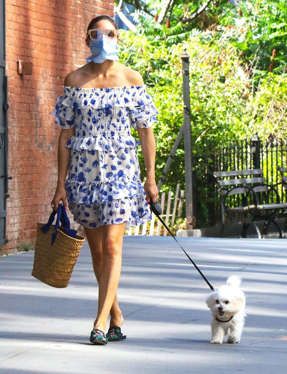 <p>Olivia Palermo continues her stylish summer streak during a walk with her dog in Brooklyn, New York, on Thursday.</p>