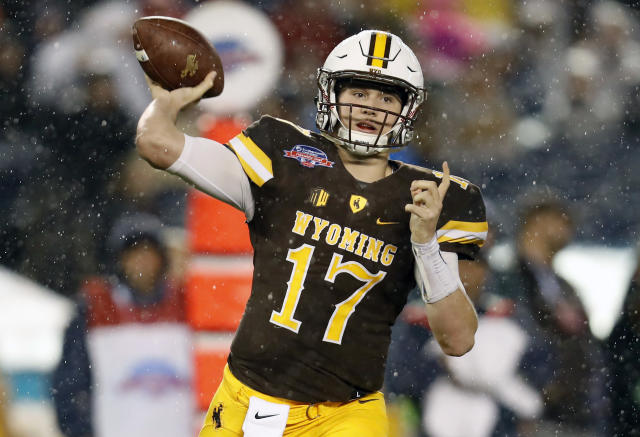 "Wyoming's <a class=""link rapid-noclick-resp"" href=""/nfl/players/28032/"" data-ylk=""slk:Josh Allen"">Josh Allen</a> is one of the leading contenders to be the first quarterback drafted next April. (AP)"