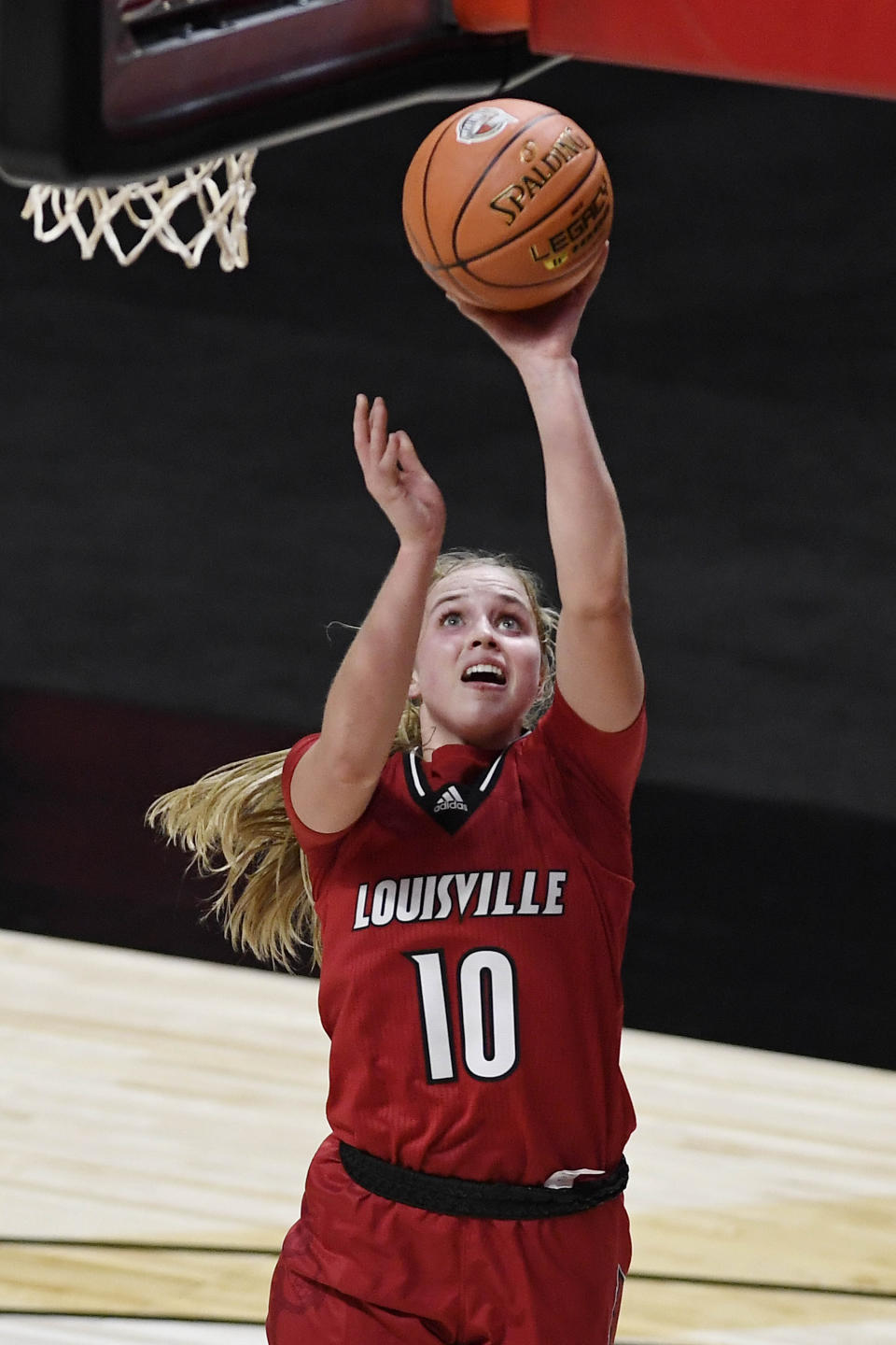 Louisville's Hailey Van Lith shoots during the first half of the team's NCAA college basketball game against Louisville, Friday, Dec. 4, 2020, in Uncasville, Conn. (AP Photo/Jessica Hill)