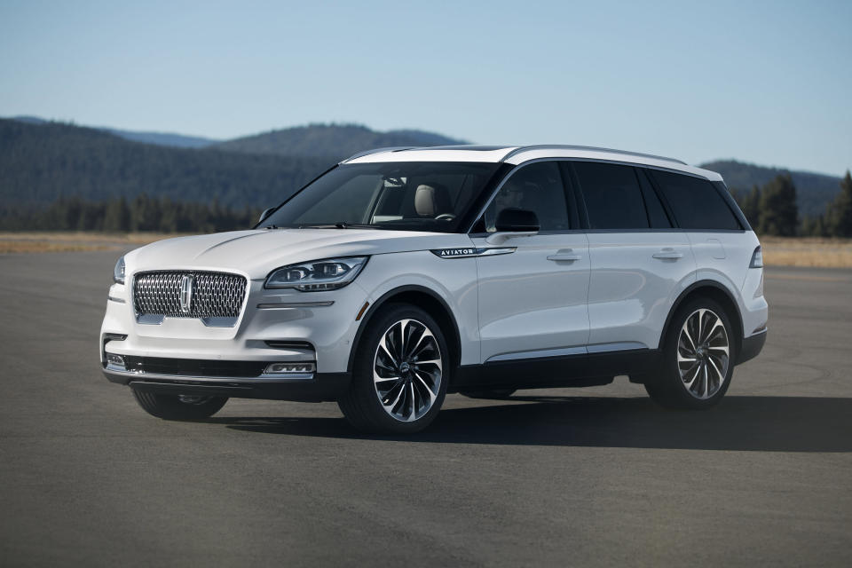 This undated photo provided by the Ford Motor Co. shows the 2020 Lincoln Aviator, a midsize three-row luxury SUV. The Lincoln is all-new, and you'll find plenty of the latest interior technology. One highlight is the 10.1-inch center touchscreen that operates the audio and navigation functions. (Tyler Gourley/Ford Motor Co. via AP)