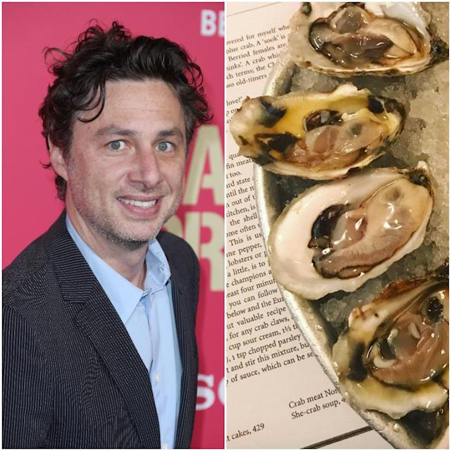 "<p>Former <em>Scrubs</em> actor Zach Braff co-owns <a href=""http://www.themermaidnyc.com/"" rel=""nofollow noopener"" target=""_blank"" data-ylk=""slk:Mermaid Oyster Bar"" class=""link rapid-noclick-resp"">Mermaid Oyster Bar</a> on Macdougal Street in New York City. It has its own 'Oysterpedia' iPhone and Android oyster education app available for download, plus a raw bar and extensive seafood menu.<br>(Canadian Press/Instagram) </p>"