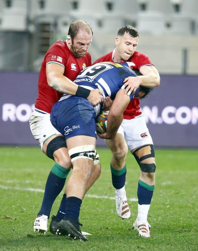Alun Wyn Jones (left) made his comeback for the Lions against the Stormers