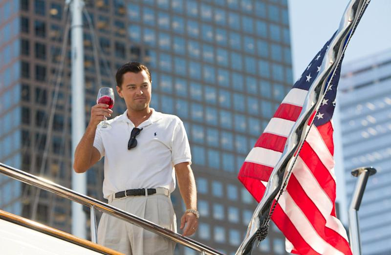 "This film image released by Paramount Pictures shows Leonardo DiCaprio as Jordan Belfort in a scene from ""The Wolf of Wall Street."" (AP Photo/Paramount Pictures, Mary Cybulski)"