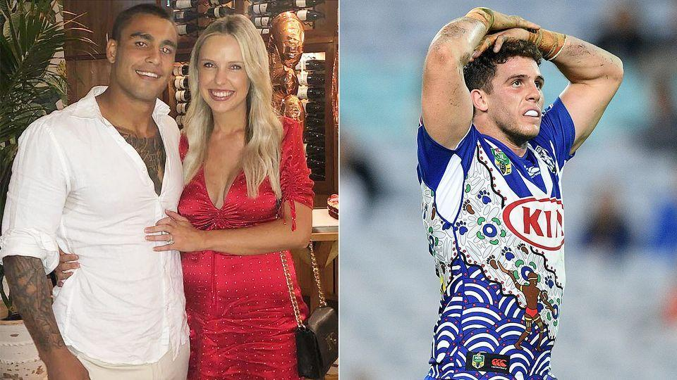 Pictured left, Michael Lichaa and his fiancee Kara Childerhouse, with Bulldogs player Adam Elliott on the right.