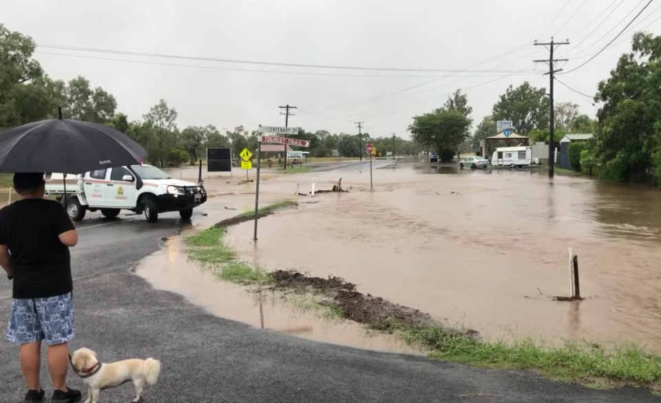 The rain has limited access out of the town, according to residents. Source: Facebook/ Sapphire Caravan and Cabin Park