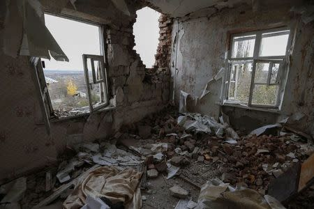 Apartment destroyed by recent shelling is seen on the outskirts of Ukraine's town of Slavyansk