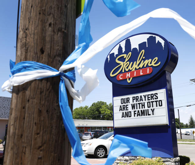 <p>An expression of sympathy is shown on a restaurant's billboard for the family of Otto Warmbier June 21, 2017 in Wyoming, Ohio. (Photo: Bill Pugliano/Getty Images) </p>