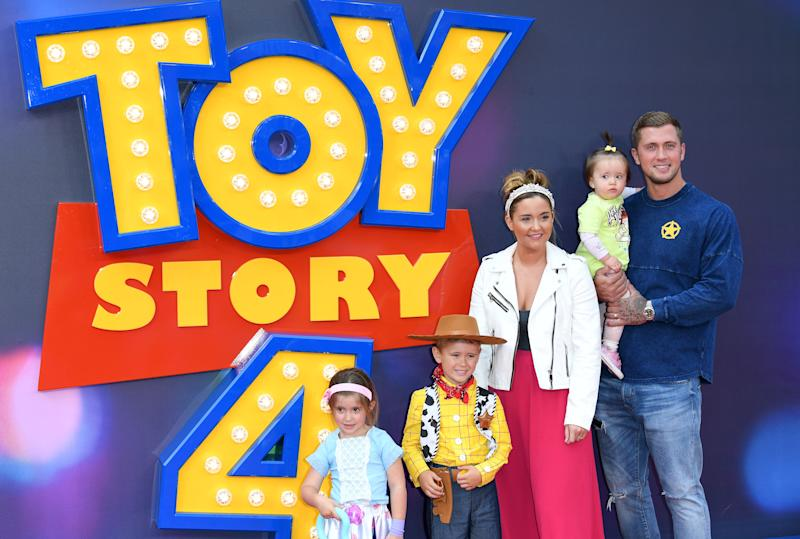 "LONDON, ENGLAND - JUNE 16: Dan Osborne, Jacqueline Jossa and children attend the ""Toy Story 4"" European Premiere at Odeon Luxe Leicester Square on June 16, 2019 in London, England. (Photo by Karwai Tang/WireImage)"