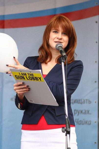 PHOTO: An undated handout picture made available by the Press Service of the Civic Chamber of the Russian Federation on chamber's official website shows 'The Right to Bear Weapons' Public Organization's Board Chairman Maria Butina attending a rally. (Press Service of Civic Chamber of the Russian Federation/HANDOUT/EPA via Shutterstock)