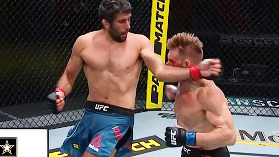 Beneil Dariush, pictured here knocking out Scott Holtzman at UFC Apex.
