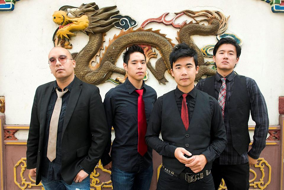 Members of the Asian-American rock band The Slants (L-R): Tyler Chen, Ken Shima, Simon Tam, Joe X. Jiang pose in Portland, Oregon, U.S., August 21, 2015 in a picture released by band representatives. Anthony Pidgeon/Handout via Reuters