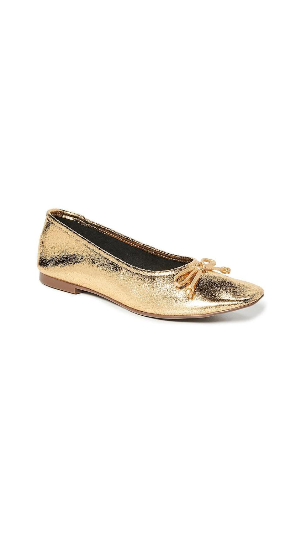"""<p><strong>Schutz</strong></p><p>shopbop.com</p><p><strong>$88.00</strong></p><p><a href=""""https://go.redirectingat.com?id=74968X1596630&url=https%3A%2F%2Fwww.shopbop.com%2Farissa-ballet-flats-schutz%2Fvp%2Fv%3D1%2F1577232790.htm&sref=https%3A%2F%2Fwww.marieclaire.com%2Ffashion%2Fg34126792%2Fspring-shoe-trends-2021%2F"""" rel=""""nofollow noopener"""" target=""""_blank"""" data-ylk=""""slk:Shop Now"""" class=""""link rapid-noclick-resp"""">Shop Now</a></p><p>This cracked gold is somehow neutral enough to go with leggings and a sweater but can easily transition to an evening slipper with a cocktail dress.</p>"""